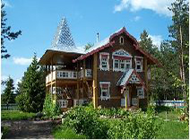 Russia typical wooden log houses